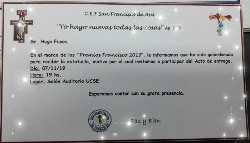 En este momento estás viendo El Secretario General del Sadop Seccional Santiago del Estero, recibirá el «Premio Francisco 2019».